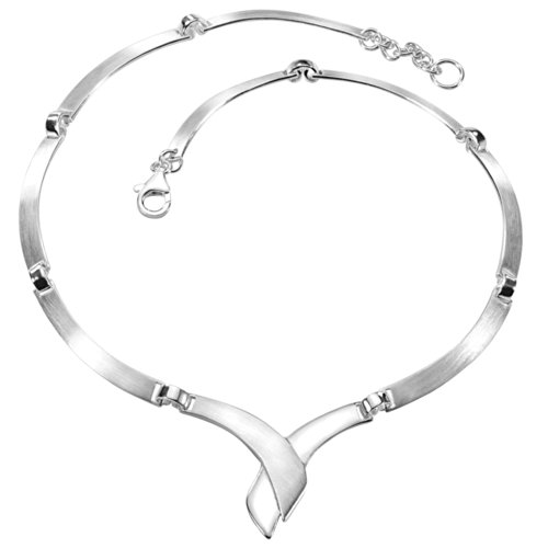 Vinani Halskette Collier gekreuzt geschwungen beweglich mattiert glänzend Sterling Silber 925 Kette Italien KCF