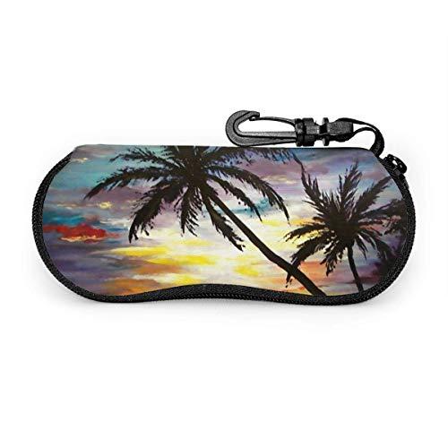 Wthesunshin Gafas de sol tropicales de la pintura de la puesta del sol Estuche blando Cremallera Estuche para gafas Estuche protector con clip para cinturón
