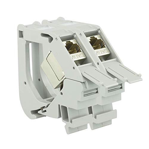 AIXONTEC 2x Hutschienen DIN Schiene DIN Rail Keystone Adapter Modul Gehäuse Grau mit 2x Cat.6A Buchsenmodul geschirmt Jack 10000 1000 Mbit 500MhZ - IP20 – toolless - mit deutscher Montageanleitung