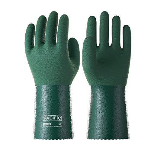 Pacific PPE Nitrile Chemical Resistant Gloves,Heavy Duty Safety Work Gloves,Reusable Industrial Gloves Resist Acid, Alkali, Solvent and Oil,Nitrile Glove(Green,L)
