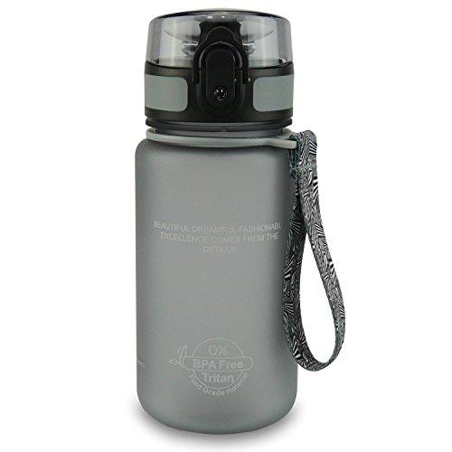SMARDY Tritan Botella de Agua para Beber Gris - 350ml - de plástico sin BPA - Tapa de un Clic - fácil de Abrir - ecológica - Reutilizable