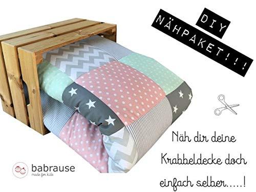 babrause DIY Krabbeldecke Nähpaket Verschiedene Designs (Rosa Mint)