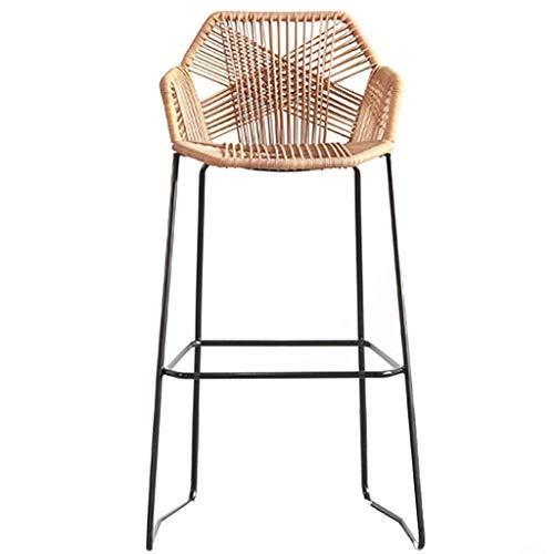 CHAIR Stuhl Bar, Cafe, Restaurant Stuhl, Barhocker Rattan Wicker Stuhl für Küche Pub Café Frühstückstheke mit Fußstütze Amp; Rückenhocker Khaki Brown