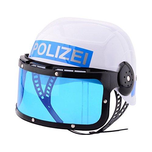 Johntoy Polizeihelm mit Visier, einheitsgröße, weiß/blau