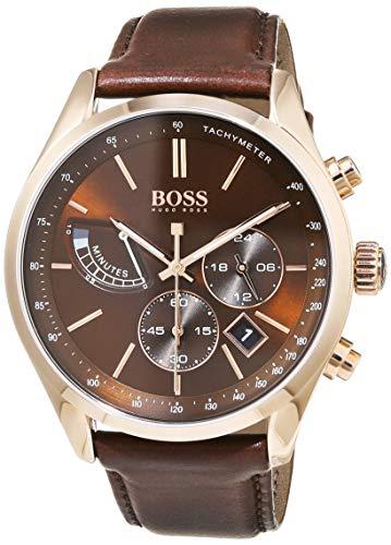 Hugo Boss Herren Chronograph Quarz Uhr mit Leder Armband 1513605