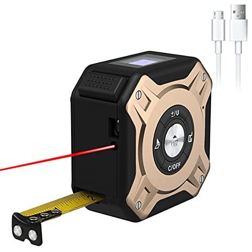 HUNDA Telémetro láser de Cinta Métrica 2 en 1, Metro Láser 40m y Cinta Métrica 5m, HD y LCD Pantalla, Cinta Métrica Láser Recargable USB, Calibracion Automatica, Apagado Automático, 2 Apertura Láser