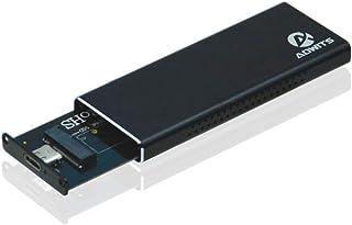 合惠USB 3.1 UASP Type-C〜NVMe M.2高性能PCIe SSDアダプタ、Samsung、Kingston、ADATA、DREVOなどのポータブルHDDエンクロージャケースNVMe内部ソリッドステートドライブ、ブラック