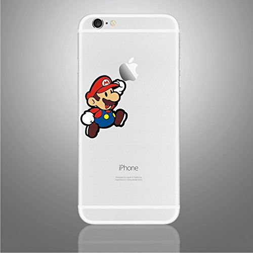 Vinilo adhesivo para iPhone 6/6S/7/+/SE Super Mario Jumping towards Apple (compatible con todas las versiones de iPhone)