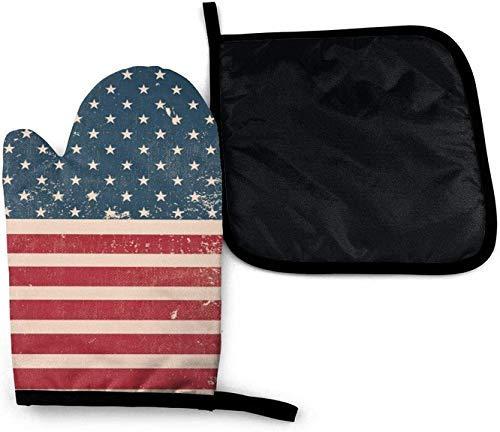 Vintage American Flag Patriot Old Horno de microondas Mitones y Porta ollas Juego de Cubiertas Aislamiento térmico Manta Estera Pad Mitones Guantes Antideslizantes para Barbacoa