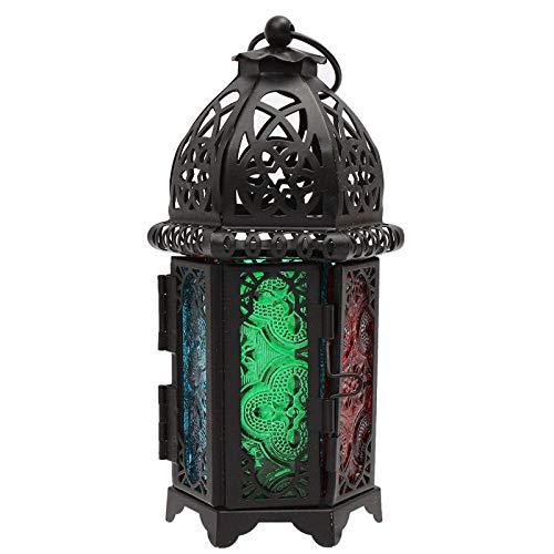 Portavelas DecorativoCandelero Colgante De Luz De Té De Linterna De Hierro Hueco Marroquí Vintage para Centro De Mesa De Salón (Size:7X16.5cm; Color:Black)
