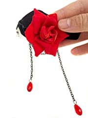 Elegant Retro Rose Flower Collarbone Chain Clavicle Necklace Gothic Lolita Black Lace Collar Choker Ornament Wedding Halloween Accessories Perfect Xmas Gift for Lady (Red) #1