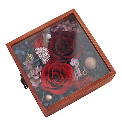 LZL Rosa preservada Caja Cuadrada Caja de Regalo de Flores conservada conservada Real Aniversario Aniversario Madre Novia Creatividad Festival Regalo Rosa eterna (Color : Red)