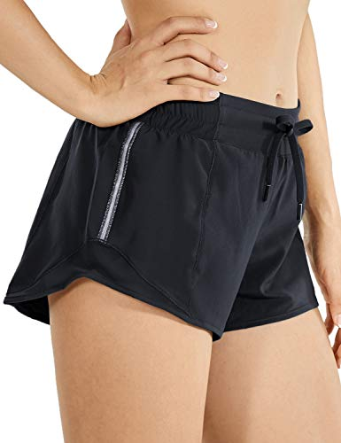 CRZ YOGA Quick-Dry Loose Running Shorts Sports Workout Shorts for Women Gym Athletic Shorts with Pocket - 2.5 Inches Black - 2.5'' Small