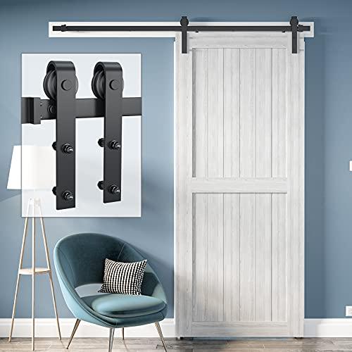 Genius Iron 6.6FT Single Barn Door Hardware, Classic Design...