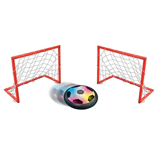 Lexibook Aerofoot Schwebende Fußballscheibe, 2 Ziele enthalten, Dias leicht, Lichteffekte, batteriebetrieben, schwarz / weiß JG980