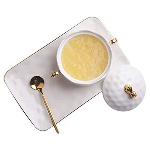 BIIII Juego de vajilla de cerámica,Juego de platos de estilo europeo,Ensaladera Postre Helado Bowl Gold Ceramic Vajilla Western