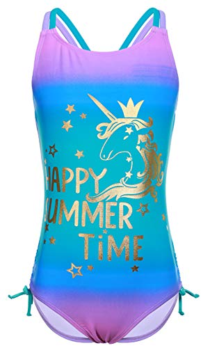 DUSISHIDAN Kinder Mädchen Badeanzug Bademode Einteiliger Sommer Swimsuit Süße Heißpräge-Einhorn Farbverlauf Lila M