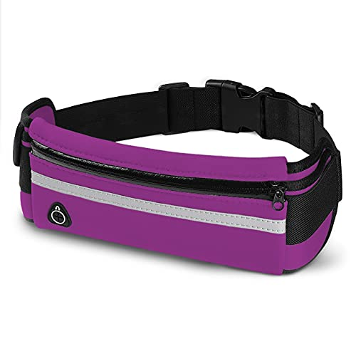 E Tronic Edge Waist Packs: Best Comfortable Running Belts for Hiking, Workouts, Traveling Money Belt - Unisex Fit for All Waist Sizes & All Phones (Violet)