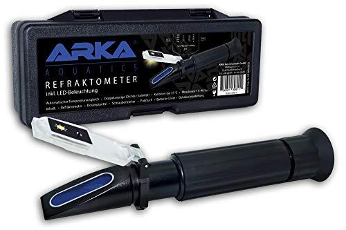 ARKA Aquatics Refraktometer – Dichtemesser/Salinität mit Temperaturausgleich, Doppelanzeige, für jedes Meerwasser Aquarium