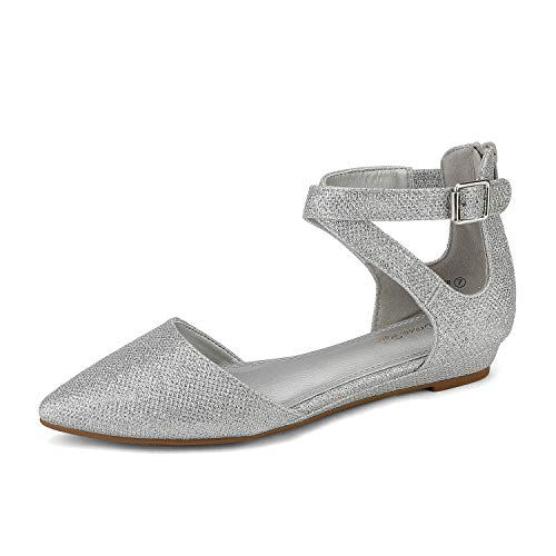 DREAM PAIRS Women's Silver Glitter Ankle Strap Dress Flats Shoes 8 B(M) US Harper