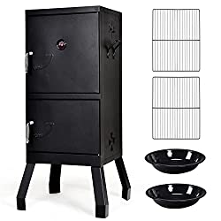 commercial 2-stage outdoor grill with Giantex Vertical Charcoal Smoker thermometer, air tent, … brinkman smoker grill