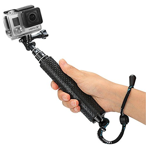 "Foretoo Selfie Stick for GoPro,19""Waterproof Hand Grip Adjustable Extension Monopod Pole for Gopro Hero 6 5 4 3+3 2 1 AKASO, Xiaomi Yi,SJCAM SJ4000 SJ5000 (with Wrist Strap and Screw) (19""Stick Black)"