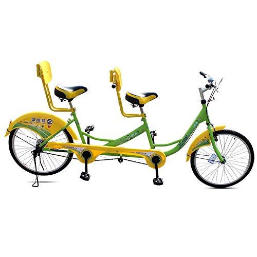 SYLTL City Tandem Fahrrad Paar Auto Eltern-Kind-Auto Unterhaltung und Freizeit Travel Bicycle Kohlenstoffstahl Tandemfahrrad,GreenYellow