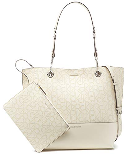 Calvin Klein Sonoma Double Handle Signature North/South Tote with Removable Wristlet Pouch, White Emboss