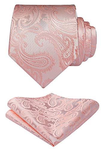 HISDERN Panuelo de corbata rosa paisley para hombre Conjunto de corbata de fiesta de boda y panuelo de bolsillo