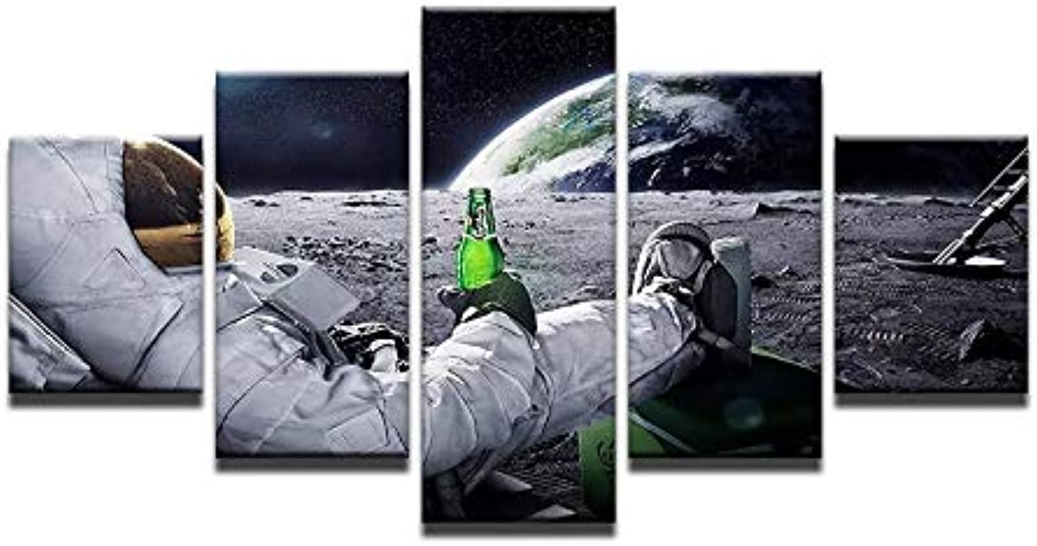 Astronaut in Space Canvas Printings for Living Room 5pcs Mural Drinking Beer Modern Arts Cuadros Modernos Gift