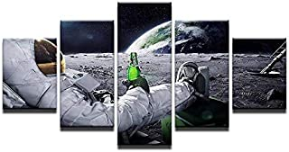 WJNKGHG Astronaut in Space Canvas Printings for Living Room 5pcs Mural Drinking Beer Modern Arts Cuadros Modernos Gift