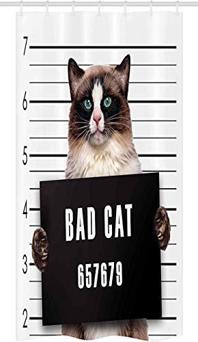 Cortina ducha puesto gato,gato la cuadrilla mala en la cárcel Kitty bajo arresto Trabajo resaca prisionero criminal,juego decoración baño tela con ganchos,marrón negro-72x72in-plástico