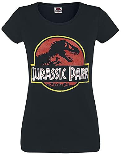 Jurassic Park Logo Mujer Camiseta Negro...