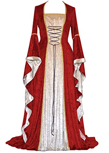 Womens Renaissance Medieval Costume Dress Lace up Irish Over Long Dresses Cosplay Retro Gown (L, Red)