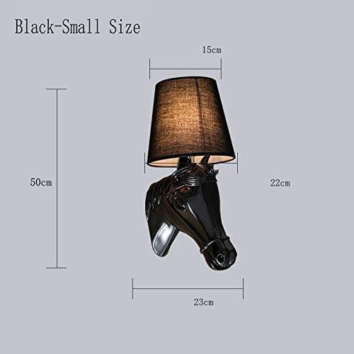 Wandlamp voor kinderen, wit, goud, zwart, paard, retro, bedlampje, stof, lampenkap van kunsthars, paardenkop, binnenhuis, wanddecoratie LED Black_Color_Warm_White_(2700-3500