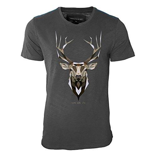 Sinus 74 Design -Hirsch Geweih Erdfarben – Herren Shirt in Graphite mit Blauer Schulternaht - James & Nicholson Premium Shirt – Design Paul Sinus