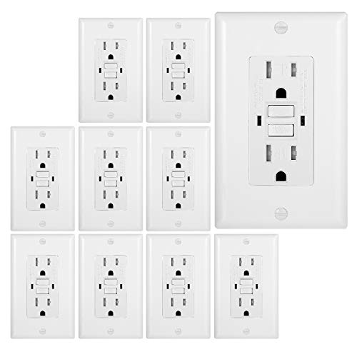 10 Pack - GFCI Duplex Outlet Receptacle - Tamper Resistant 15-Amp/125-Volt, Self-Test Function with LED Indicator - UL Listed, cUL Listed - Wall Plate and Screws Included, White