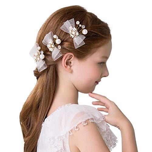 IYOU Pinza para el cabello con lazo tocados de flores doradas perlas de cristal accesorios para el cabello de encaje de primera comunión para niñas de flores y dama de honor (paquete de 3)