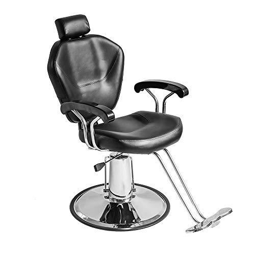 Anaelle Pandamoto Fauteuil de Coiffeur Classic Hydraulique Inclinable Barber Reclinable 360°en PU Cuir avec Chrome Repos Pied pour Salon Professionnel et Maison, Taille: 90*65*100cm, Poids: 25kg, Noir