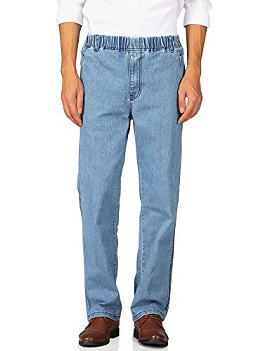 Soojun Mens Casual Loose Fit Elastic Waist Denim Pants, Denim Blue, 38W x 30L