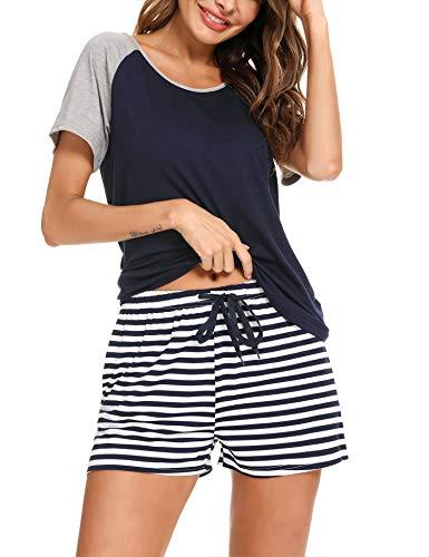 Doaraha Pijama Corto Mujer Verano Algodón Ropa de Dormir Camiseta Manga Corta con Estampado de Rayas Pantalones Cortos Conjunto de Pijamas Suave y Transpirable Dos Piezes (A# Azul Oscuro, L)