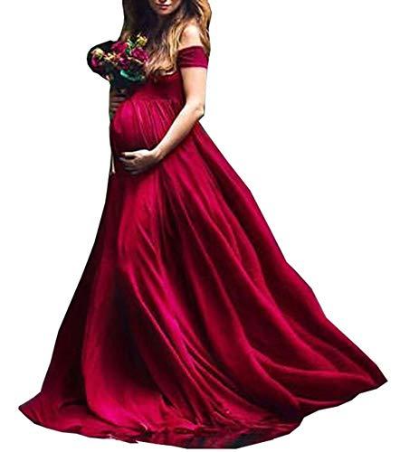Arbres Vestido de mujer elegante de gasa para embarazadas, para fotografía, vestido de noche borgoña S