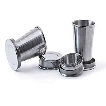 Perfect Pregame Collapsible Shot Glass Set - 4 Pack Stainless Steel Shot Glasses - Expandable Shot Glass Set Cool Drinking Accessories - 2.5 Fluid Oz Each - NO LIDS