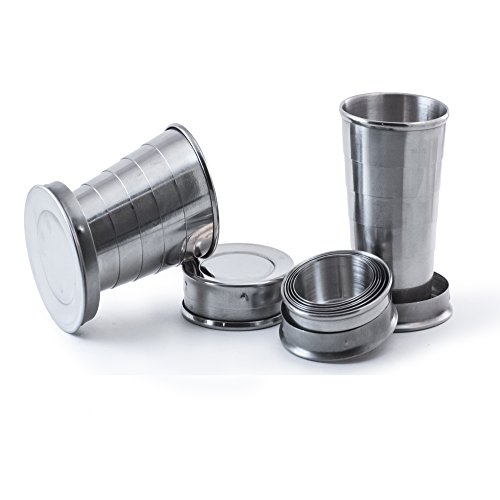 Perfect Pregame Collapsible Shot Glass Set - 4 Pack Stainless Steel Shot Glasses - Expandable Shot Glass Set, Cool Drinking Accessories - 2.5 Fluid Oz Each - NO LIDS