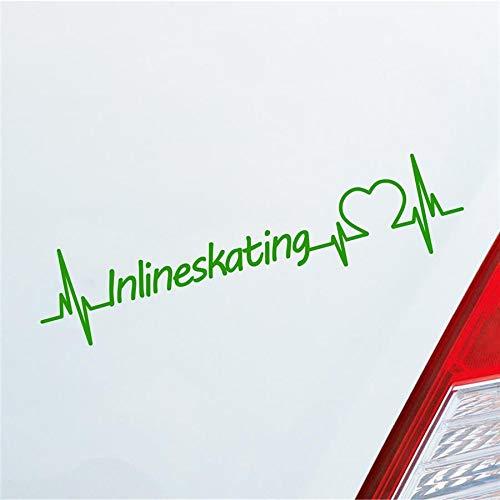 Auto Aufkleber Inlineskating Herzschlag Rollschuh Inliner Sport Sticker Liebe Hellgrün