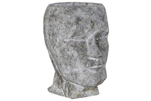 DRW Macetero de Fibra de Vidrio con Forma de Cara en Grisáceo 43x65,5x71cm