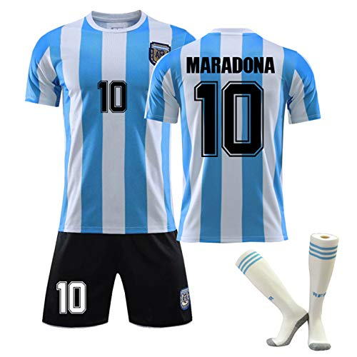 CMYA Diego Maradona Trikot, Retro 1986 Herren Argentinien Trikot Retro Blau Weiß T-Shirt Maradona Nr. 10 Fußballtrikots, Klassische Gedenkfußballuniformen für Kinder,Bring Socks,24
