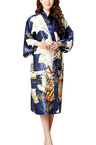 Dolamen Kimono Robe Femmes, Femmes Chemises de Nuit Geisha et Fleurs, Robe Peignoir en Satin de Soie Robe de Nuit de Demoiselle d'honneur Pyjamas, 2017 Nouveau Style (Medium, Bleu)