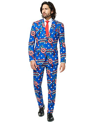 Opposuits Official Marvel Comics Hero Suits - Infinity War Avengers Costume Comes with Pants, Jacket and Tie, Captain America,50