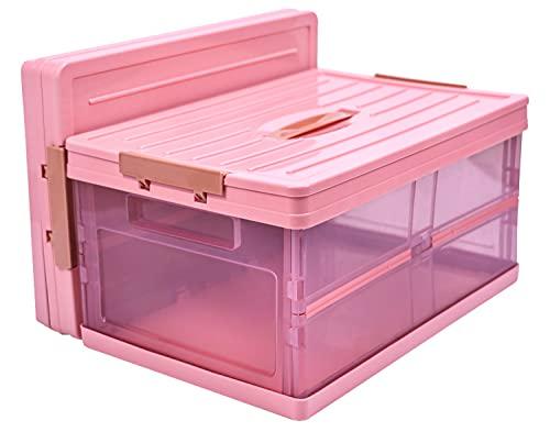 Aufbewahrungsboxen mit deckel, boxen aufbewahrung plastik,stapelbare Faltboxen kinder ,welche für die Aufbewahrung des Haushaltes und dem Kofferraum.(Rosa, 30L)